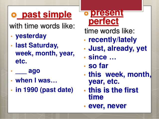 English Exercises PRESENT PERFECT AND PAST SIMPLE
